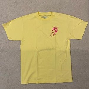 Yellow Empyre Shirt with Pink Rose Decal